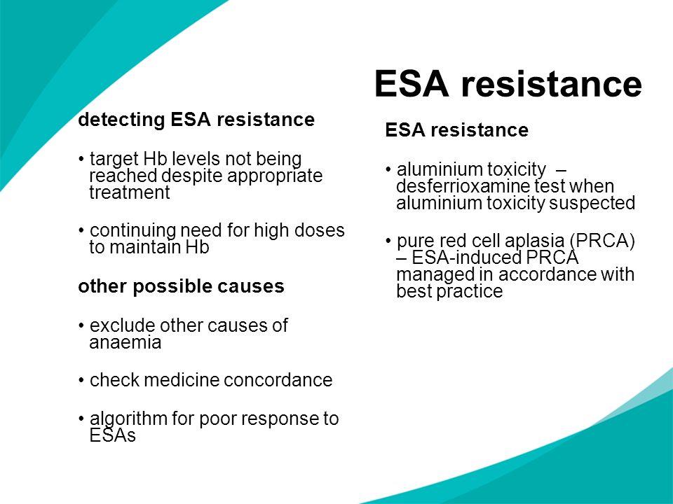 ESA resistance detecting ESA resistance ESA resistance