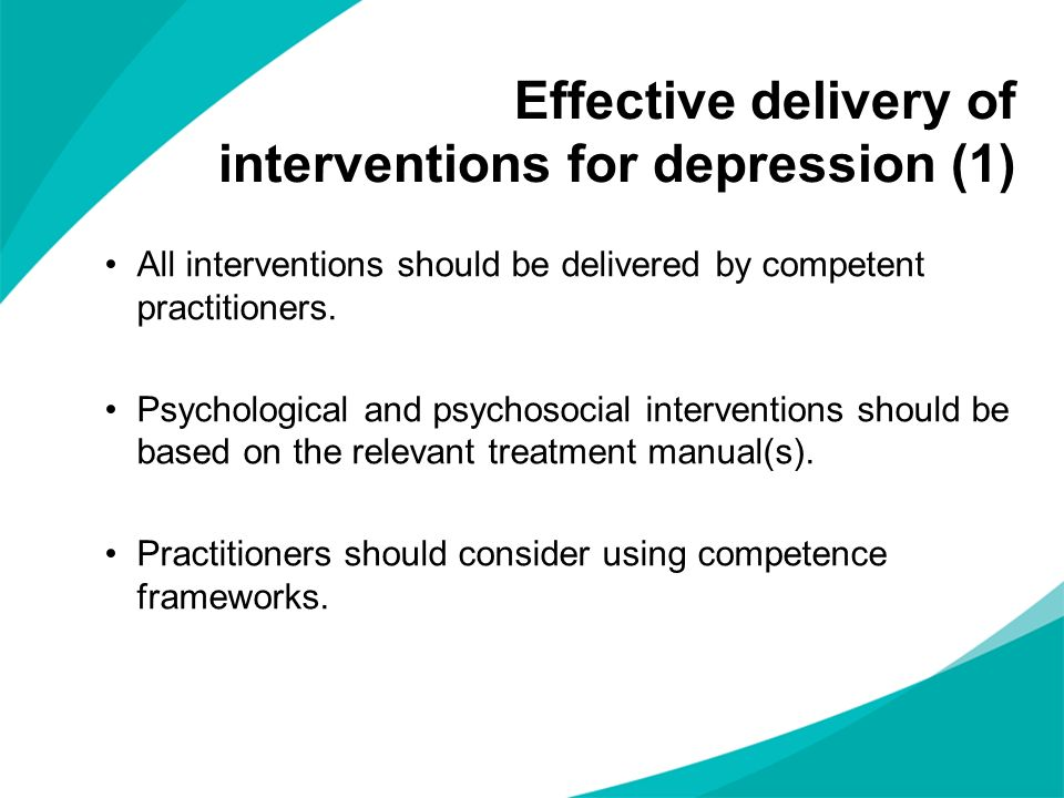Effective delivery of interventions for depression (1)