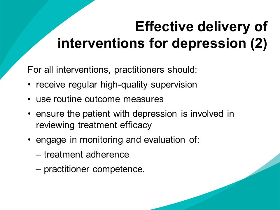 Effective delivery of interventions for depression (2)