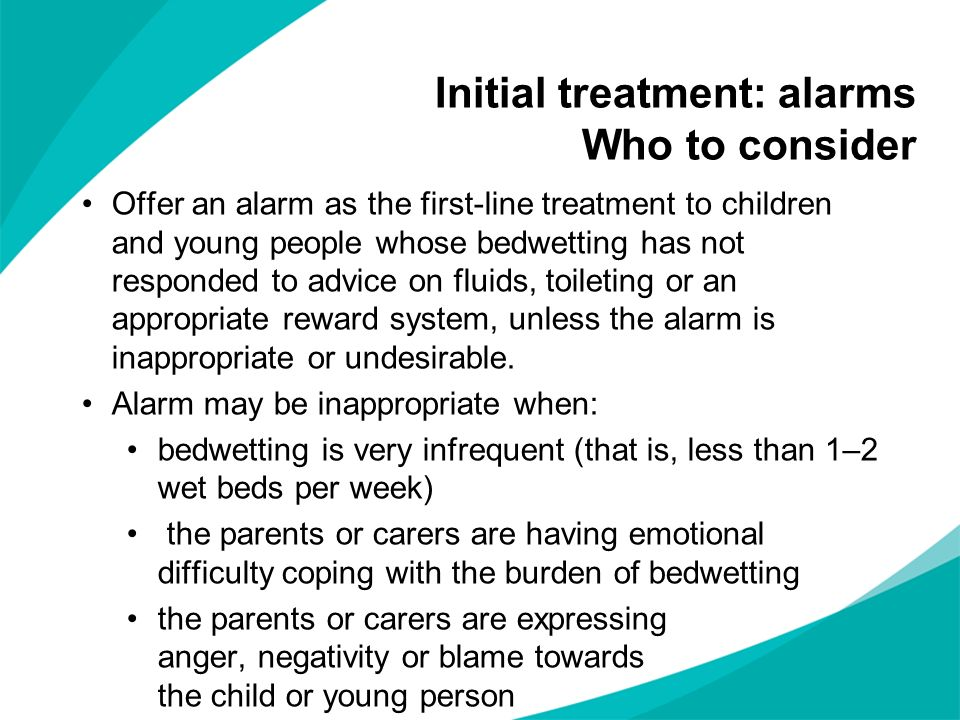 Initial treatment: alarms Who to consider