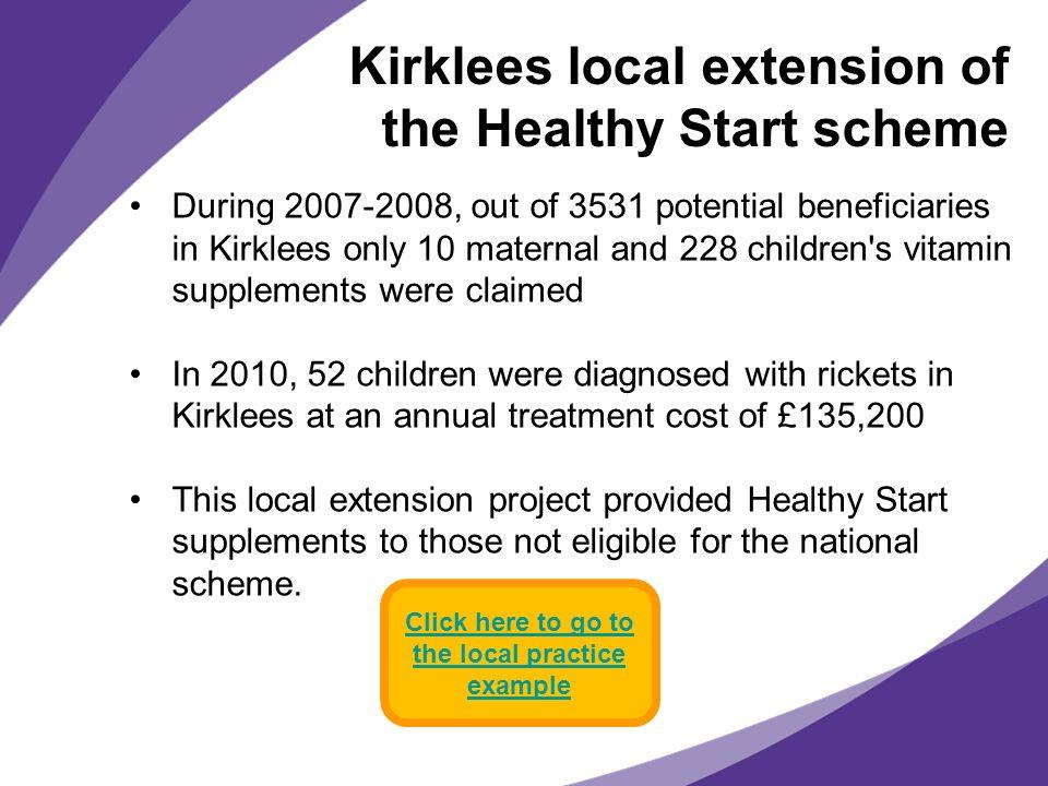 Kirklees local extension of the Healthy Start scheme