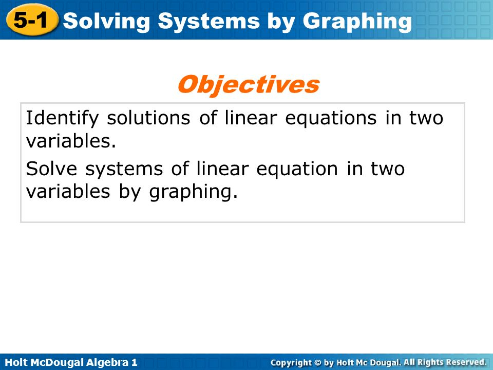 Objectives Identify solutions of linear equations in two variables.