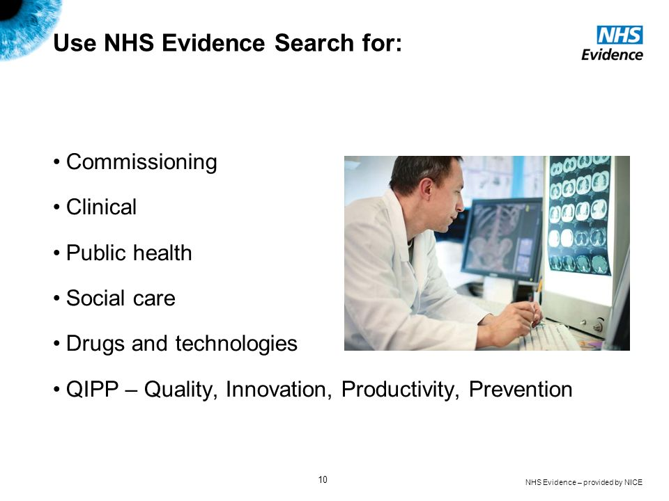 Use NHS Evidence Search for: