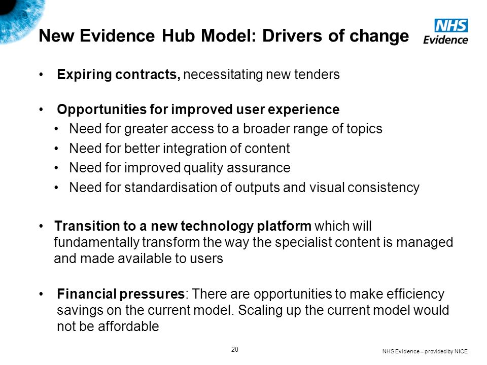 New Evidence Hub Model: Drivers of change