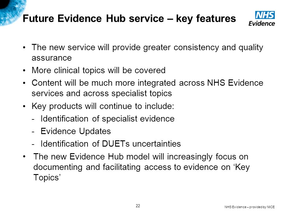 Future Evidence Hub service – key features