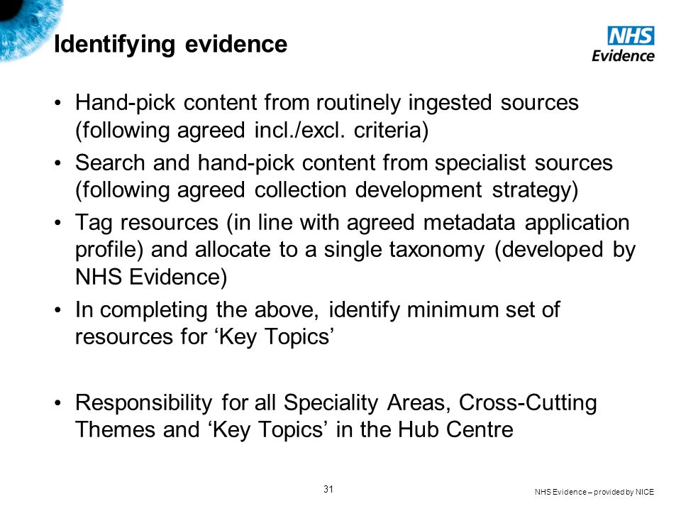 Identifying evidence Hand-pick content from routinely ingested sources (following agreed incl./excl. criteria)