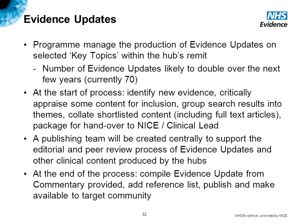 Evidence Updates Programme manage the production of Evidence Updates on selected 'Key Topics' within the hub's remit.