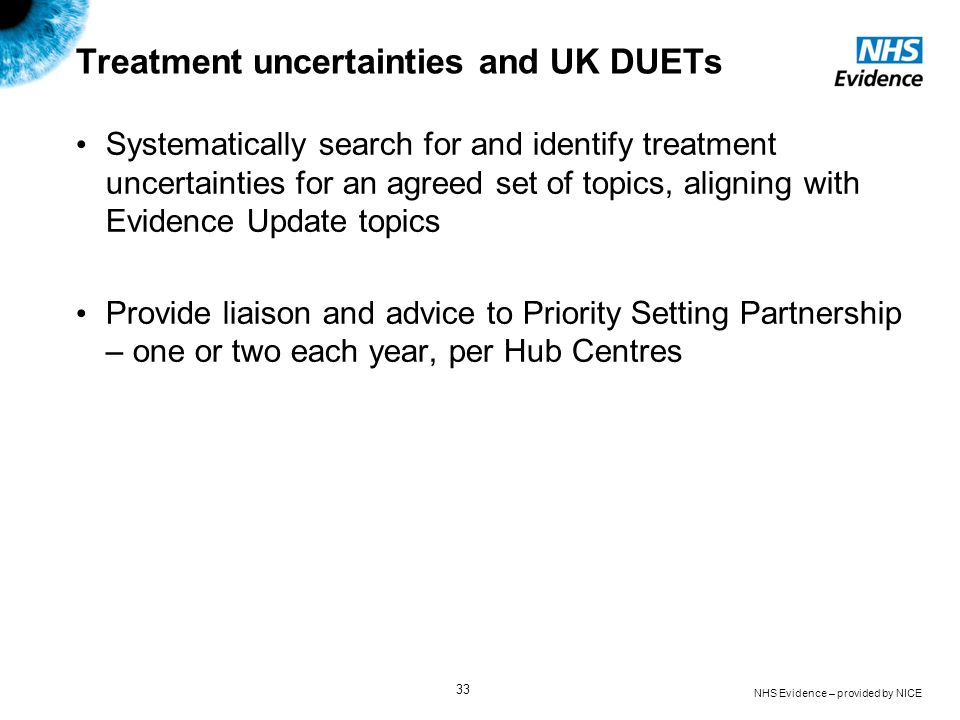 Treatment uncertainties and UK DUETs