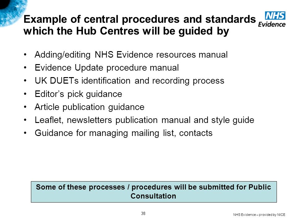 Example of central procedures and standards which the Hub Centres will be guided by