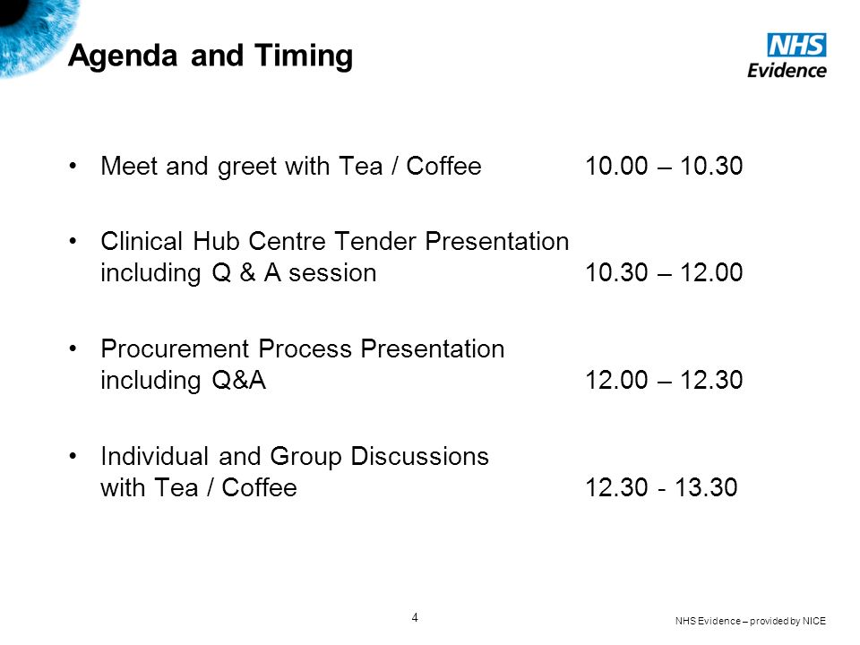 Agenda and Timing Meet and greet with Tea / Coffee – 10.30