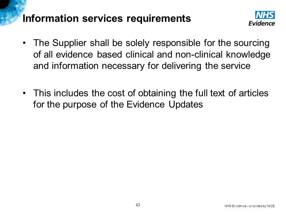 Information services requirements