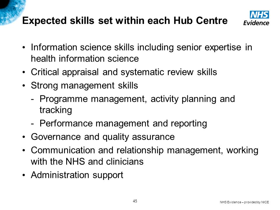 Expected skills set within each Hub Centre