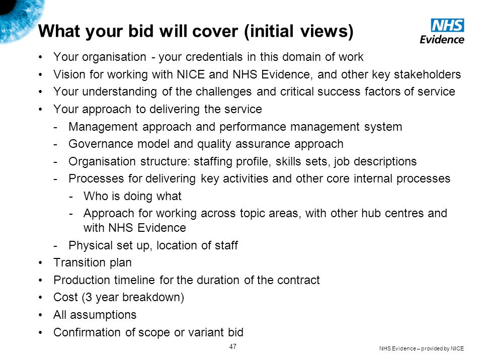 What your bid will cover (initial views)