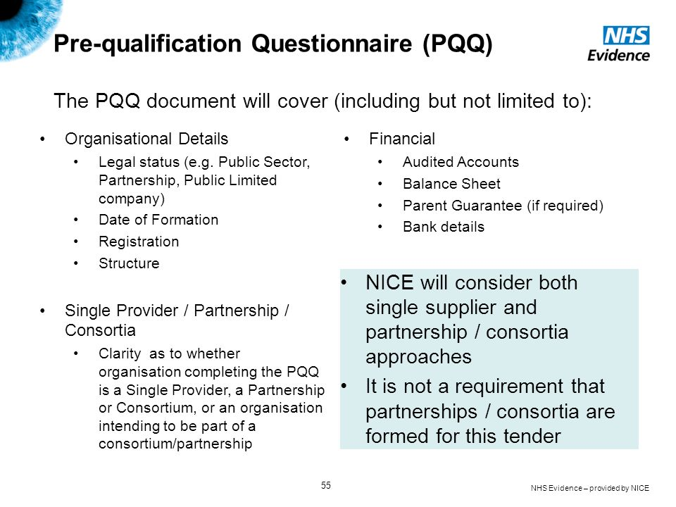 Pre-qualification Questionnaire (PQQ)