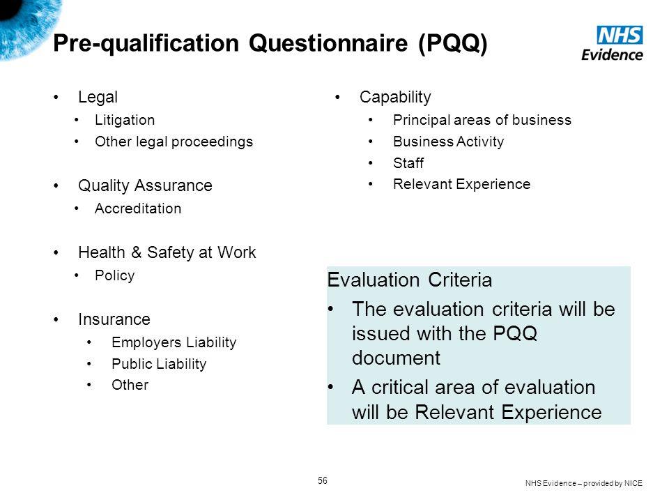 Pre-qualification Questionnaire (PQQ)