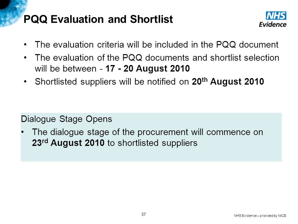 PQQ Evaluation and Shortlist