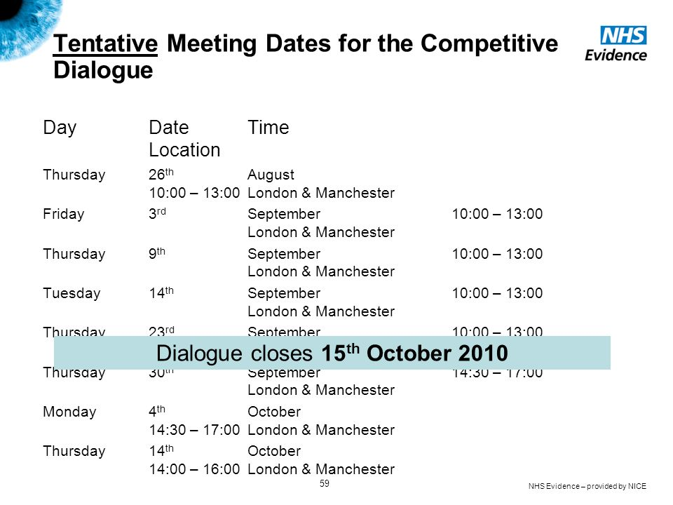 Tentative Meeting Dates for the Competitive Dialogue