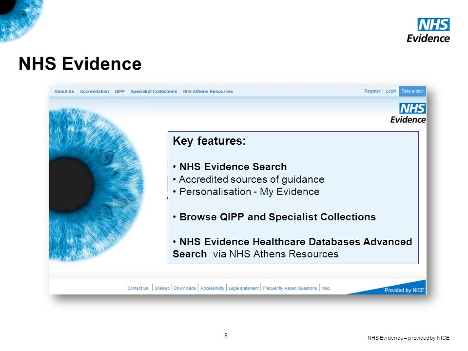 NHS Evidence Key features: NHS Evidence Search