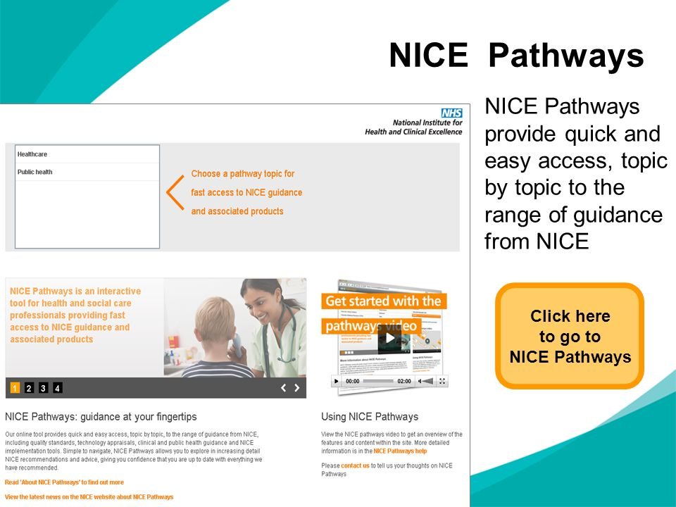 NICE Pathways NICE Pathways provide quick and easy access, topic by topic to the range of guidance from NICE.