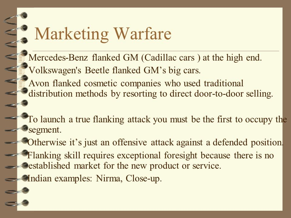 marketing warfare Businesses with small budgets and big goals find guerrilla marketing tactics give them a way to compete with larger companies the idea behind guerrilla.