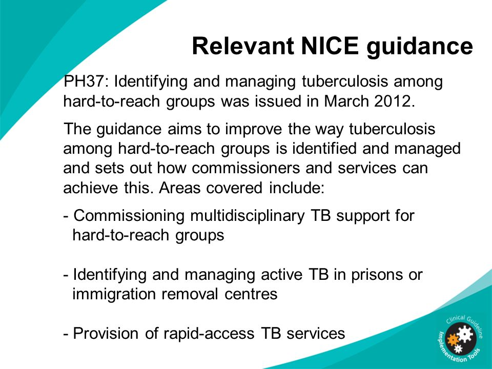 Relevant NICE guidance