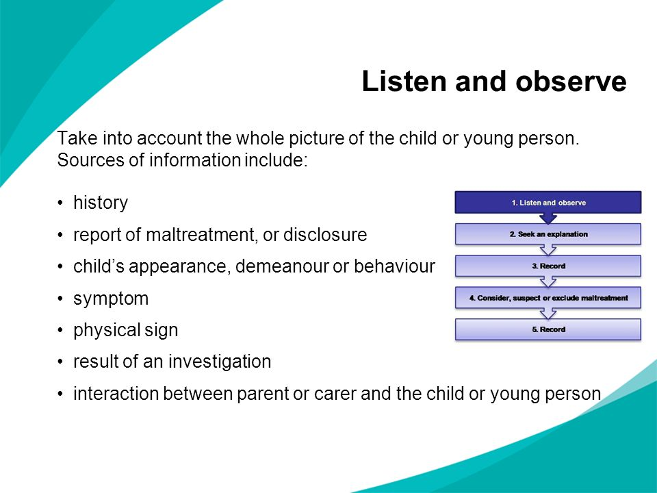 Listen and observe Take into account the whole picture of the child or young person. Sources of information include: