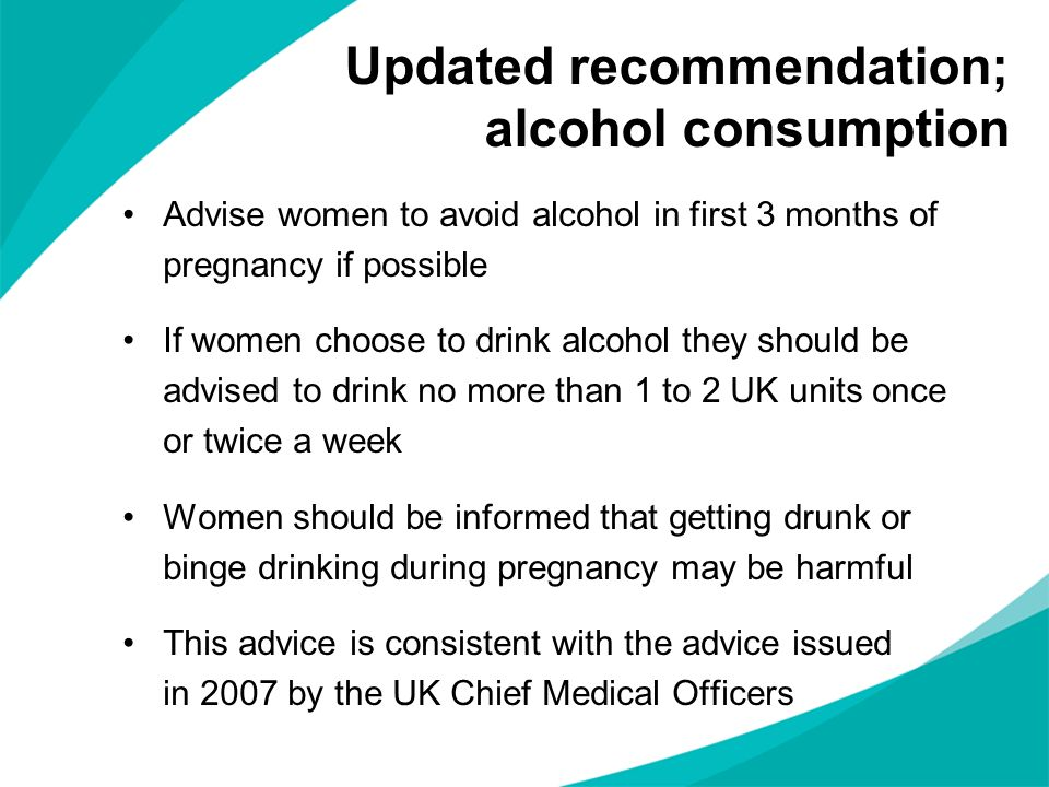 Updated recommendation; alcohol consumption