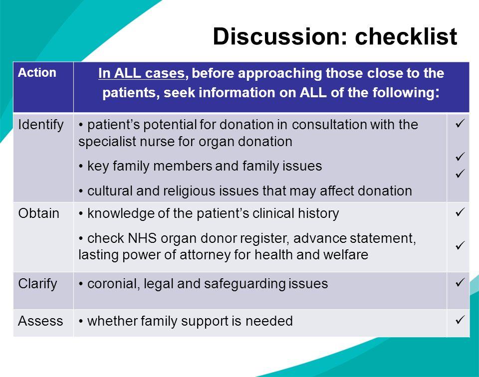 Discussion: checklist