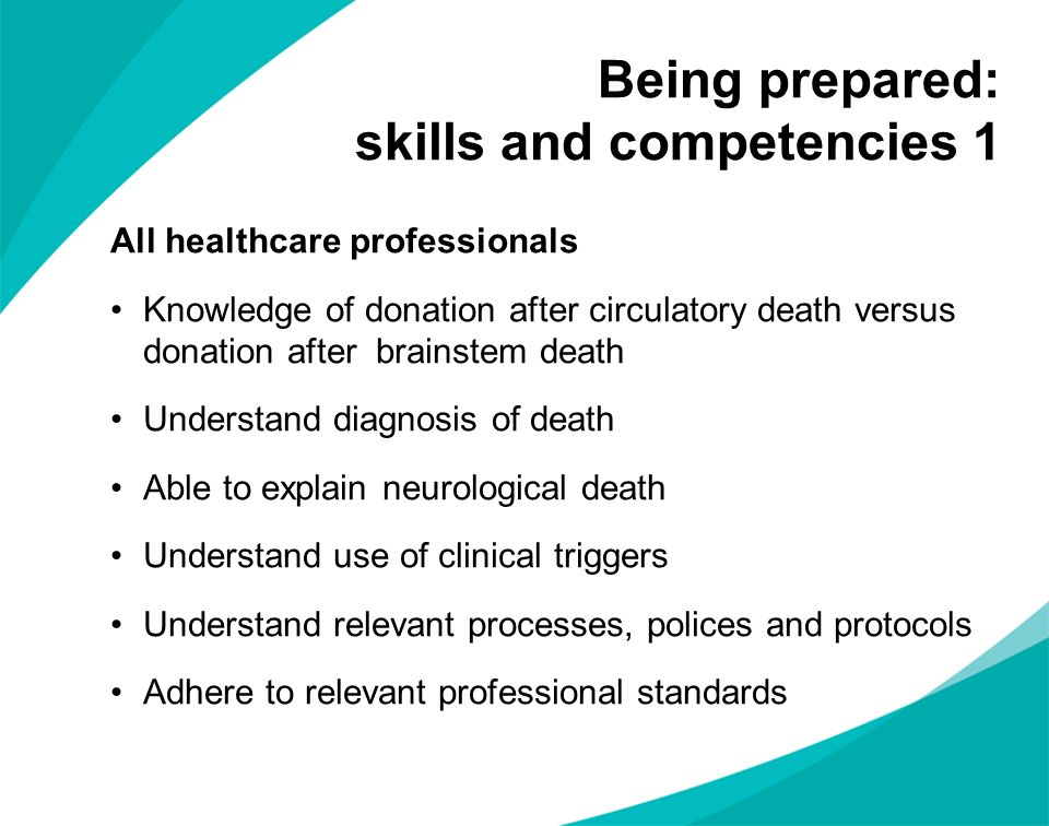 Being prepared: skills and competencies 1