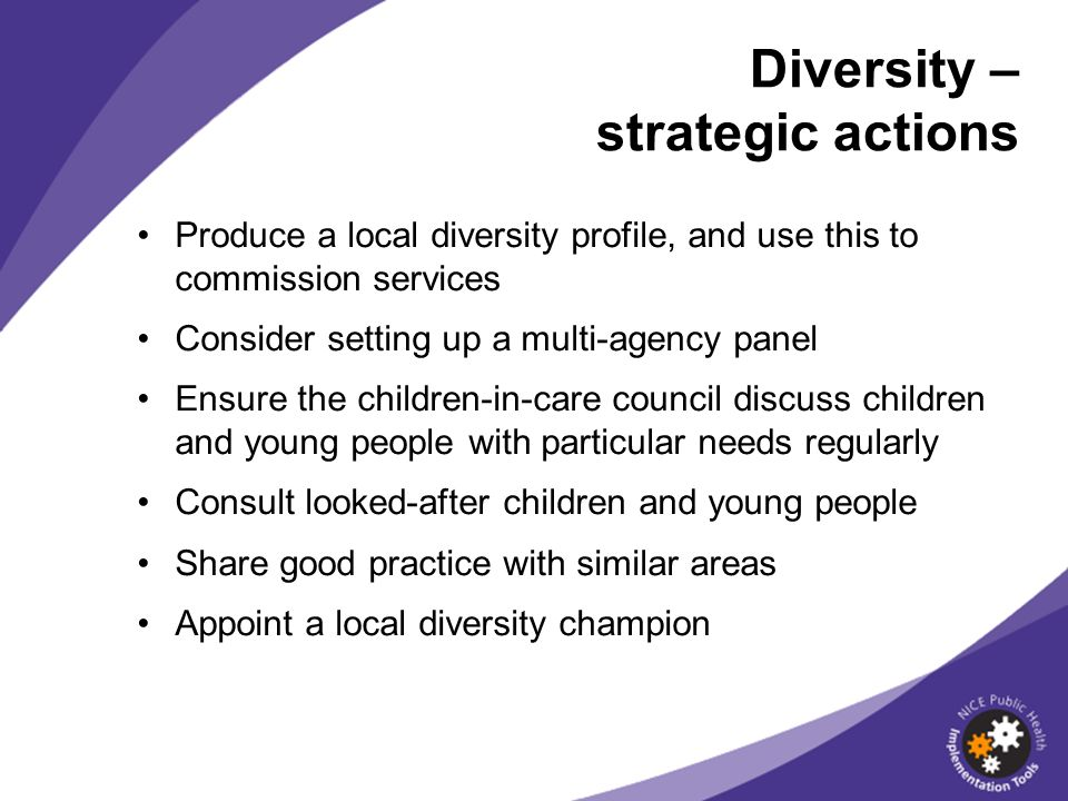 Diversity – strategic actions