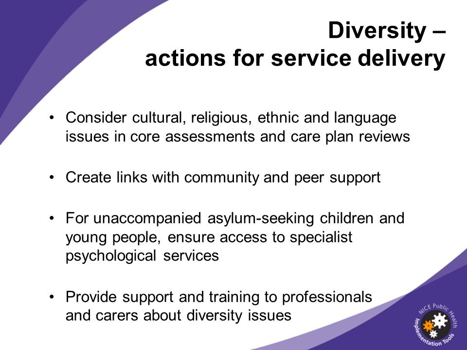 Diversity – actions for service delivery