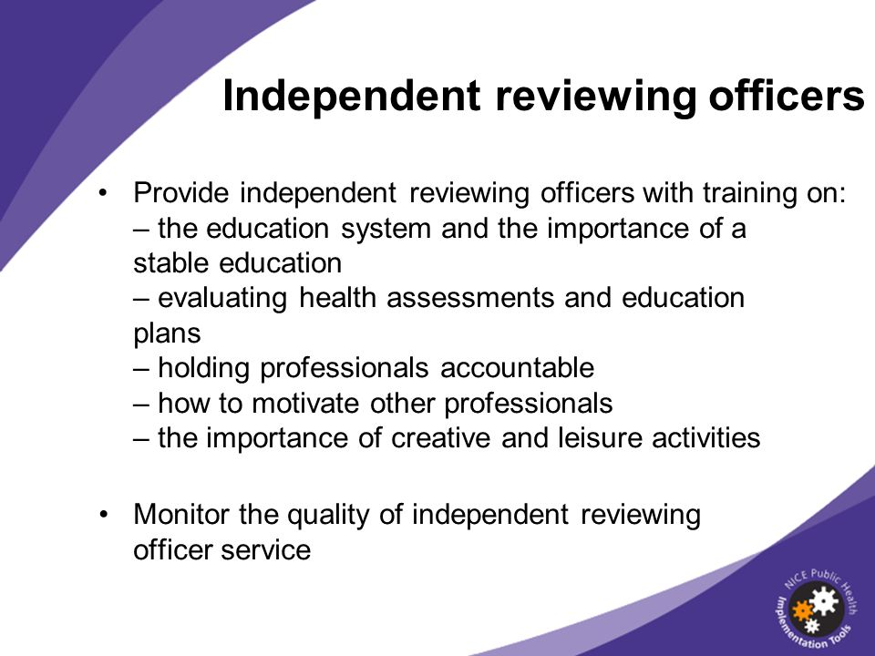 Independent reviewing officers