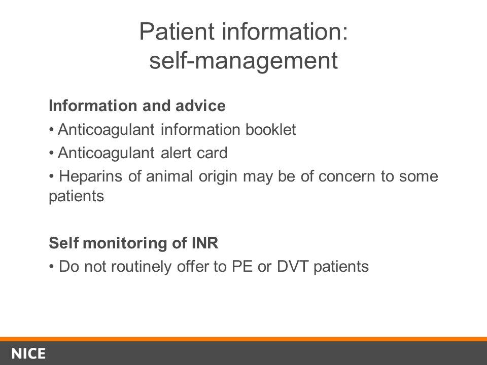 Patient information: self-management
