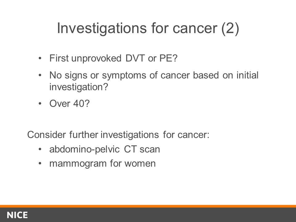 Investigations for cancer (2)