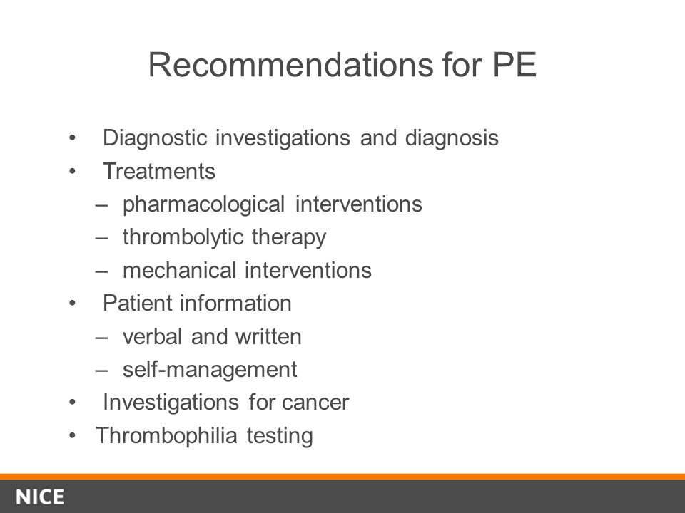 Recommendations for PE
