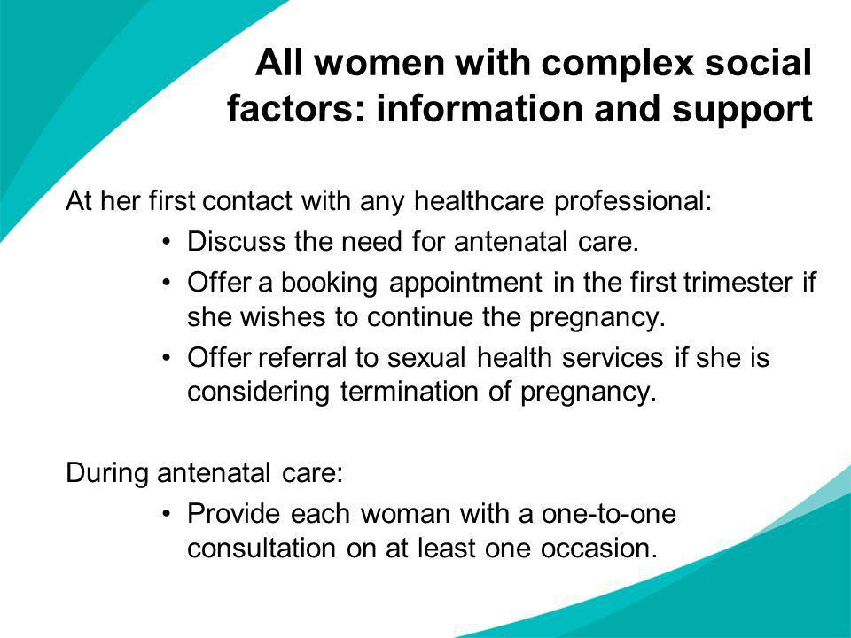 All women with complex social factors: information and support