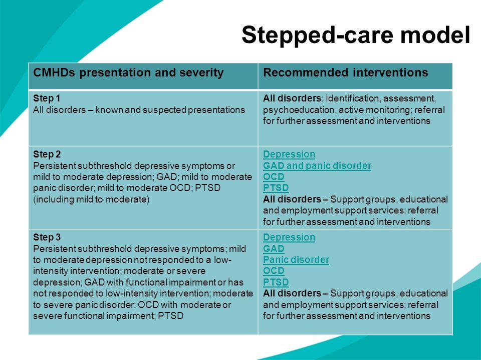 Stepped-care model CMHDs presentation and severity