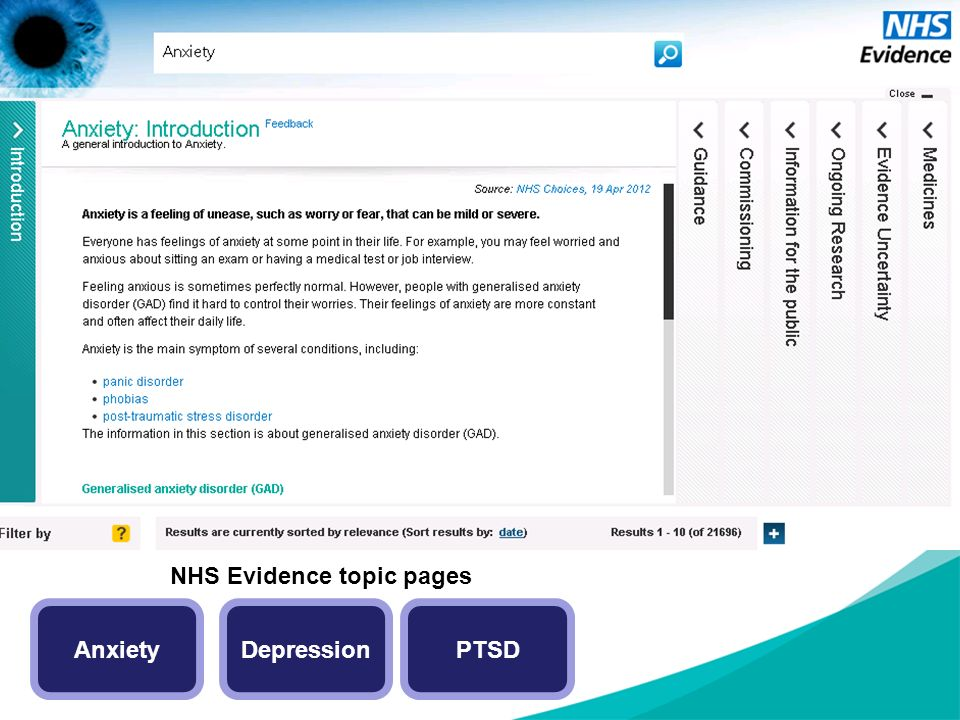 NHS Evidence topic pages