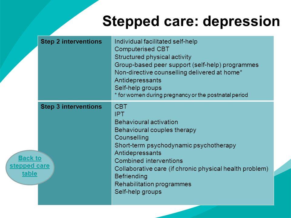 Stepped care: depression