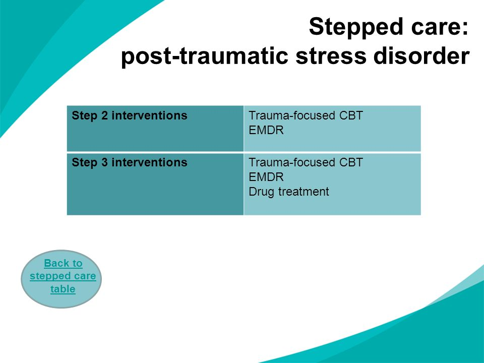 Stepped care: post-traumatic stress disorder