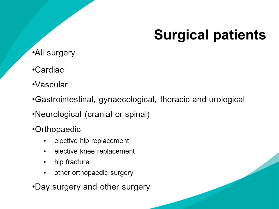 Surgical patients All surgery Cardiac Vascular