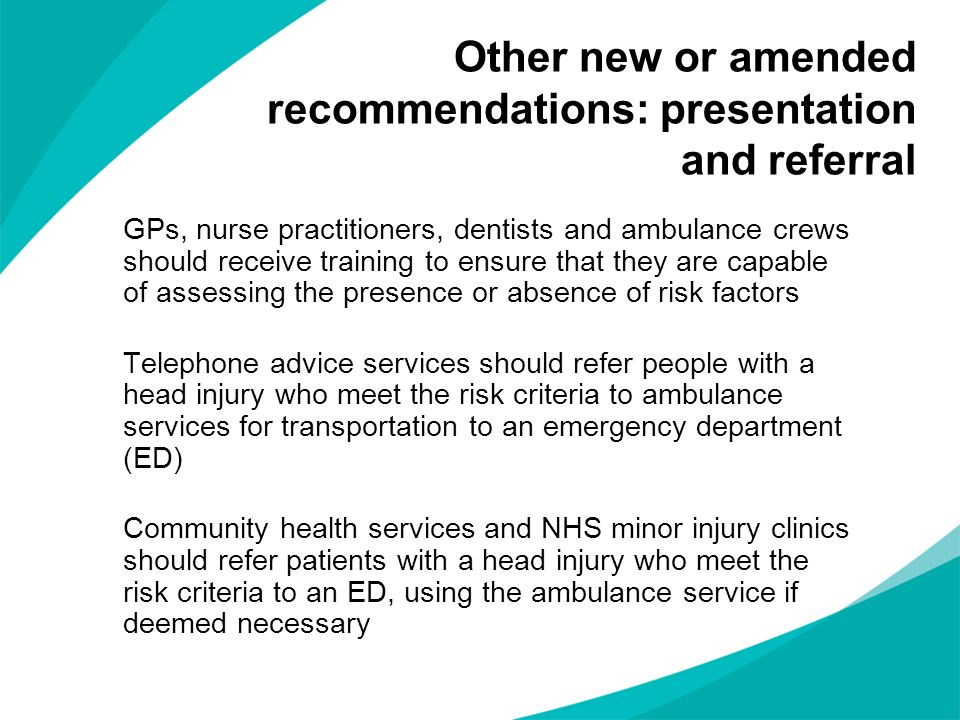 Other new or amended recommendations: presentation and referral