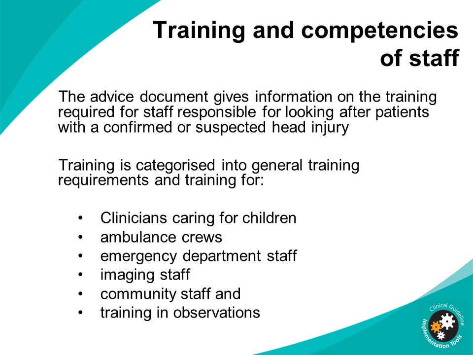 Training and competencies of staff
