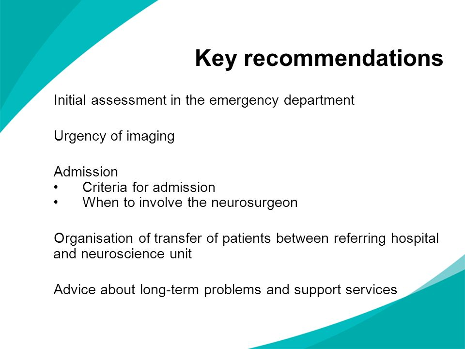 Key recommendations Initial assessment in the emergency department