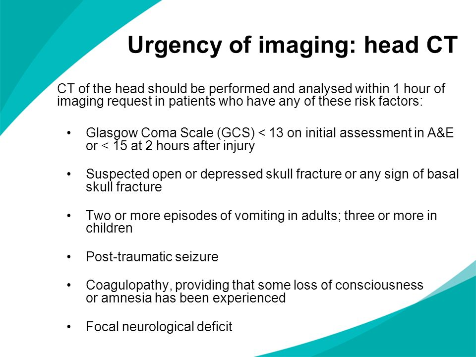 Urgency of imaging: head CT