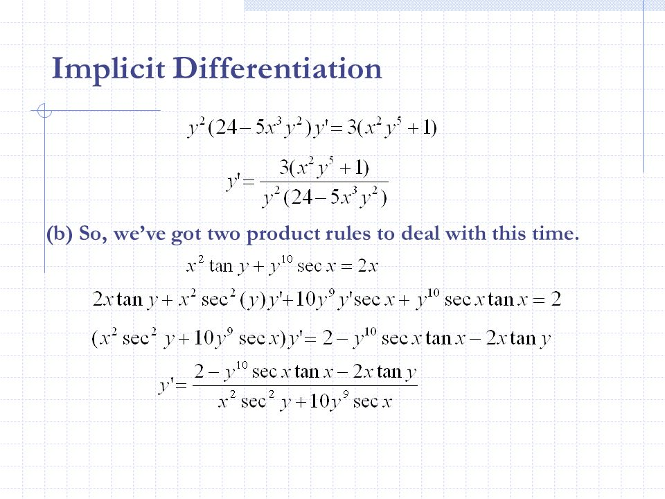 how to find slope using implicit differentiation