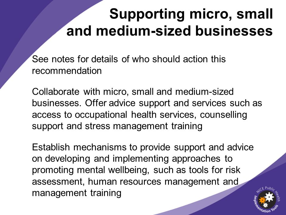 Supporting micro, small and medium-sized businesses