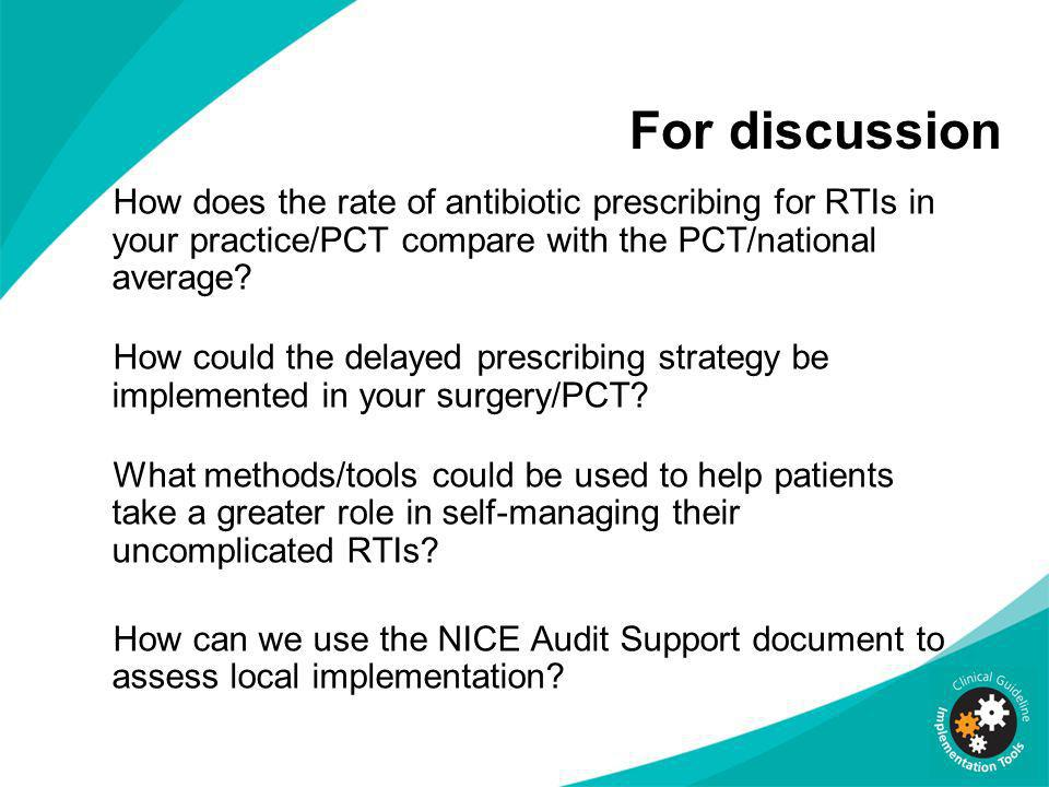 For discussion How does the rate of antibiotic prescribing for RTIs in your practice/PCT compare with the PCT/national average