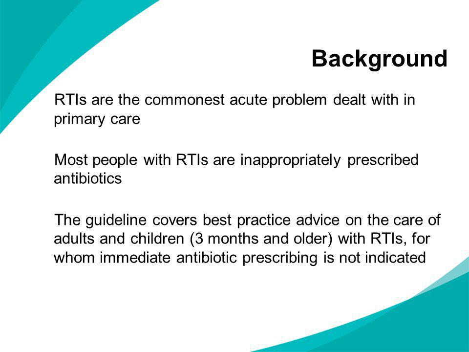 Background RTIs are the commonest acute problem dealt with in primary care. Most people with RTIs are inappropriately prescribed antibiotics.