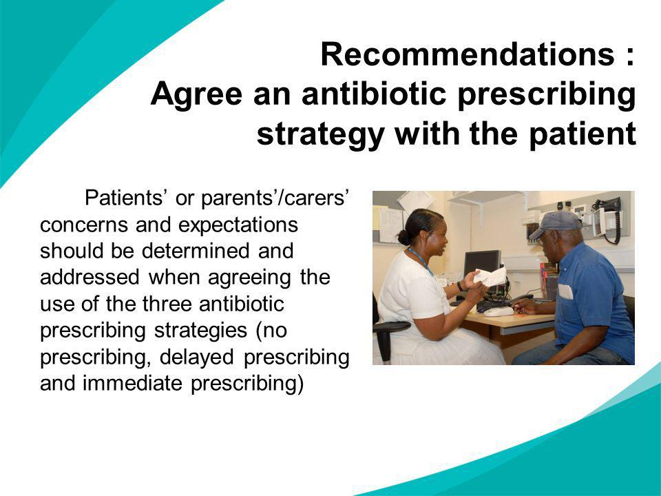Recommendations : Agree an antibiotic prescribing strategy with the patient